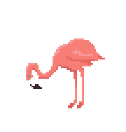 Pixel art flamingo isolated on white background Cute vector illustration.