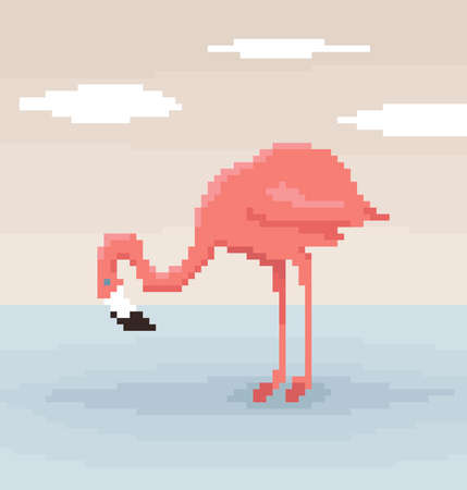 Pixel art flamingo is standing in the water. Sky with clouds on the background. Cute vector illustration.