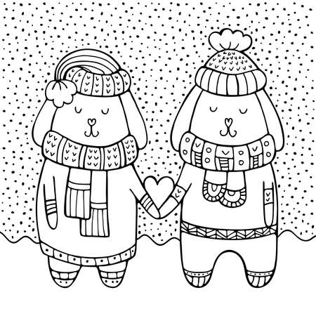 A couple of rabbits in love with heart in their paws and snow on the background. Black and white winter doodle vector illustration. Hand-drawn Valentine's day greeting card.