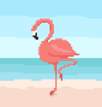 Pixel art flamingo is standing on the sand. Sea and sky on the background. Cute vector illustration.