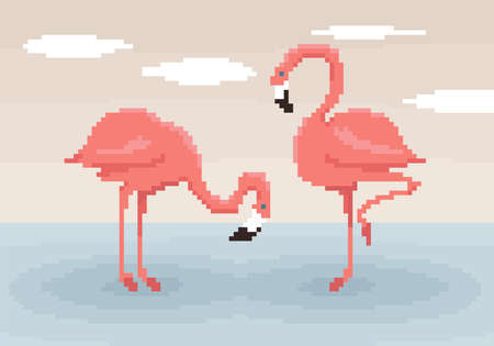 Two pixel art flamingos are standing in the water. Sky with clouds on the background. Cute vector illustration.  矢量图像