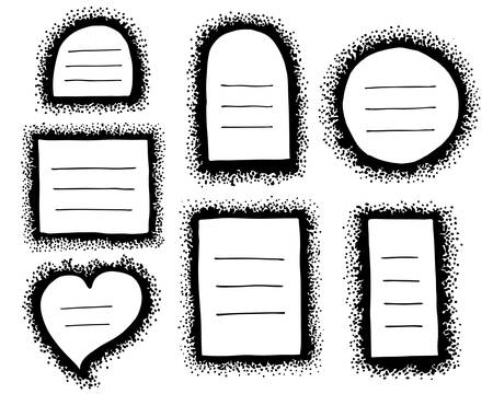 A set of hand-drawn different vector frames made of dots. Collection of black borders.  Illustration