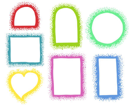 A set of hand-drawn different vector frames made of dots. Collection of colored borders.  矢量图像