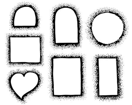 A set of hand-drawn different vector frames made of dots. Collection of black borders.  矢量图像