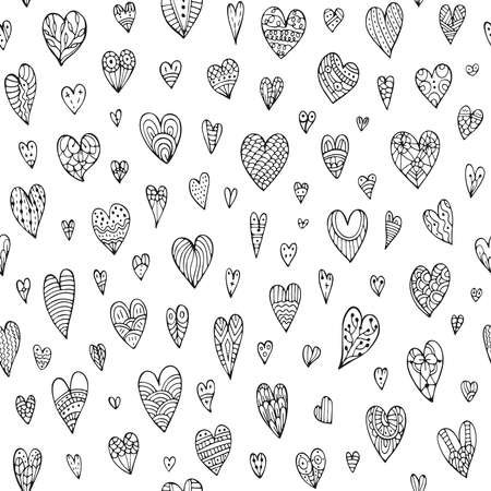 Cute seamless doodle pattern with different hearts. Hand drawn vector illustration. Design element for wallpapers, wedding attributes, fabrics, and other surfaces.