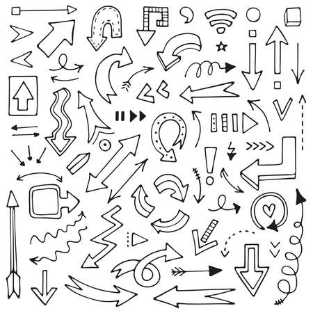 A set of hand-drawn arrows for mind maps, schemes, bullet journals, notes, planners, business ideas. Doodle vector collection of pointers.