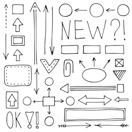 A set of hand-drawn arrows and schemes for mind maps. Doodle vector collection of pointers and design elements.