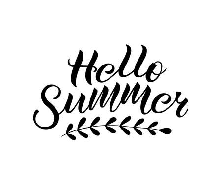Positive inspirational handwritten phrase Hello Summer. Hand-drawn brush lettering. Vector calligraphy for cards, t-shirt, textiles, posters, prints, and web. 矢量图像