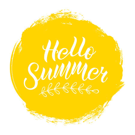 Positive inspirational handwritten phrase Hello Summer on yellow spot. Hand-drawn brush lettering. Vector calligraphy for cards, t-shirt, textiles, posters, prints, and web.