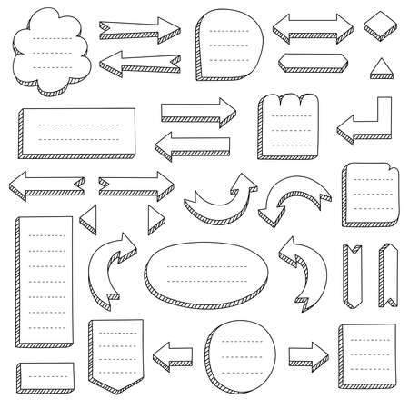 Set of black hand-drawn arrows and frames for mind maps, flowcharts, schemes, bullet journals, notes, planners, business ideas. Doodle vector collection.