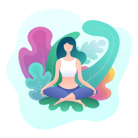 Young woman sitting in a lotus position surrounded by leaves. Meditation and relaxation poster. Colorful vector illustration.