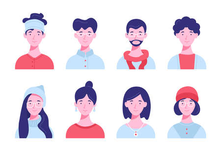 Set of icon avatars for social network and web. Flat style vector illustration. Different human faces on a white background.