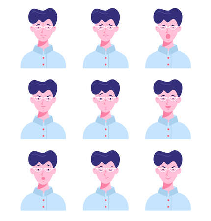 Set of male avatars with different emotions. Young man in glasses with different facial expressions isolated on a white background. Flat style vector illustration.