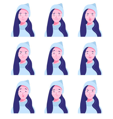 Set of female avatars with different emotions. Young woman in glasses with different facial expressions isolated on a white background. Flat style vector illustration.
