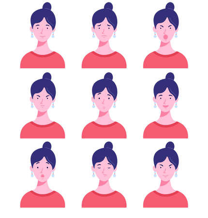 Set of female avatars with different emotions. Woman with different facial expressions isolated on a white background. Flat style vector illustration. 矢量图像