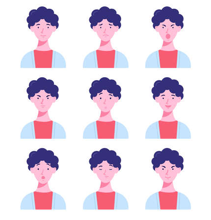 Set of male avatars with different emotions. Young man with different facial expressions isolated on a white background. Flat style vector illustration.