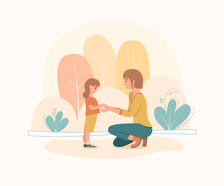 Woman is standing on her knees in front of little girl in park. Mother shows love and care to her daughter. Cute vector illustration.