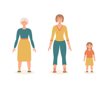 Woman at different ages isolated on the white background. Aging process. Little girl, a young woman, and an old lady. Family daughter, mother, and grandmother. Cute vector illustration.