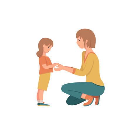 Woman is standing on her knees in front of a little girl. Mother shows love and care to her daughter. Characters isolated on white background. Cute vector illustration.