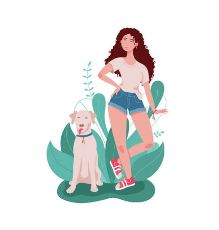 A happy smiling girl with a big dog. Leaves and bushes in the background. A young modern woman in shorts, a t-shirt, and sneakers. Flat vector illustration. Illustration