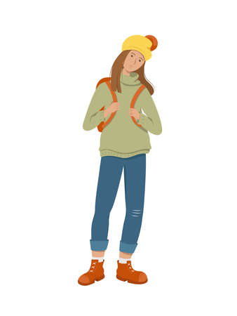 A tired student stands holding a backpack behind her back. Isolated on white background. Flat style vector illustration.