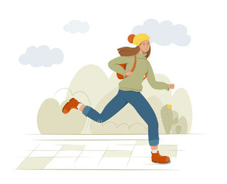 A young female student runs holding a backpack on her back. Street, bushes and clouds on background. Flat style vector illustration.