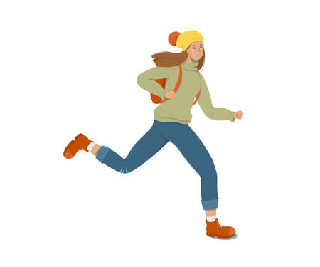 A young female student runs holding a backpack on her back. White background. Flat style vector illustration.