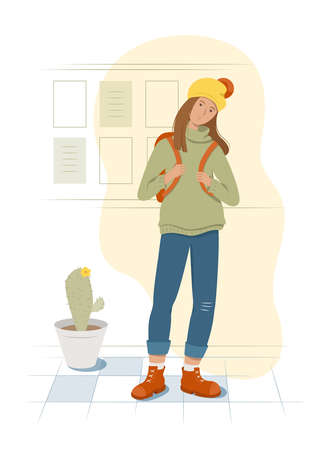 A tired student stands holding a backpack behind her back. Information wall and cactus on background. Flat style vector illustration.