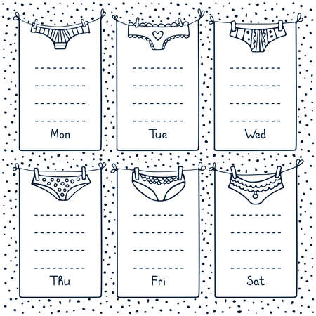 Hand-drawn black and white weekly planner with different underwear. Cute doodle stationery organizer and schedule for daily plans, diary, schedules. Bullet journal style. 矢量图像