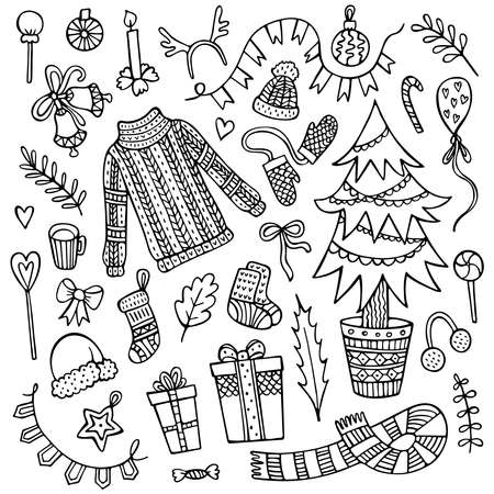 Set of cute hand-drawn Christmas elements isolated on white background. 矢量图像