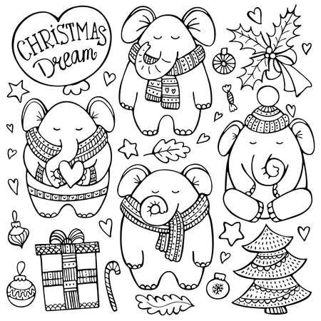 Christmas doodle set with elephants in knitted scarves surrounded by decorative elements. Cute hand-drawn vector background.