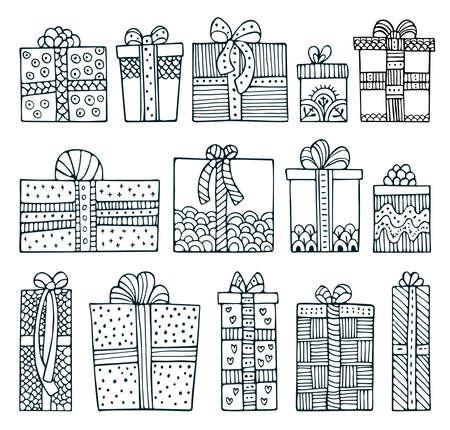 Set of doodle Christmas gift boxes isolated on white background