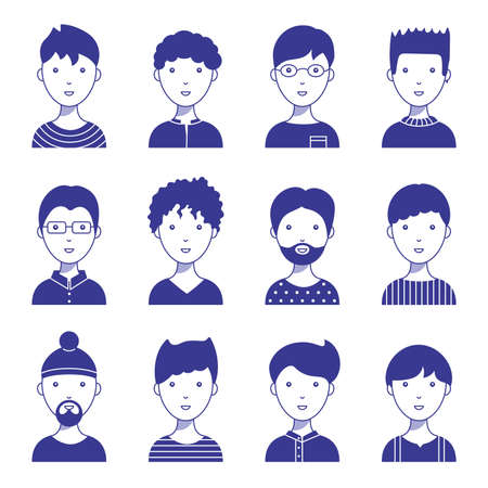Set of male icon avatars for social networks and the web. Flat style vector illustration. Different faces on a white background.