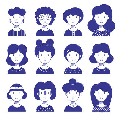 Set of female icon avatars for social networks and the web. Flat style vector illustration. Different faces on a white background.