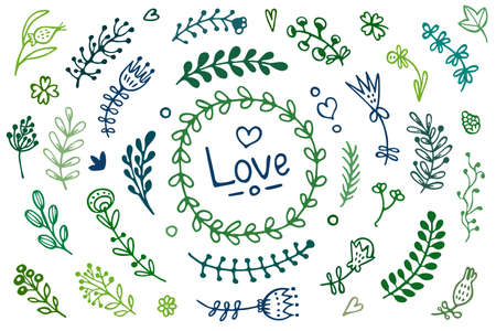Doodle set of floral elements: branches, herbs, plants. Hand-drawn illustration for wedding, invitation, greeting cards. 矢量图像