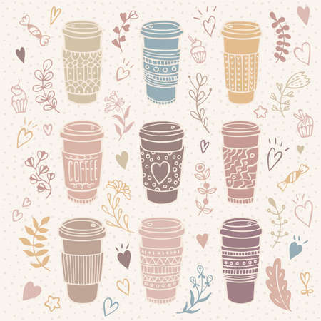 Hand-drawn coffee cup set with floral background