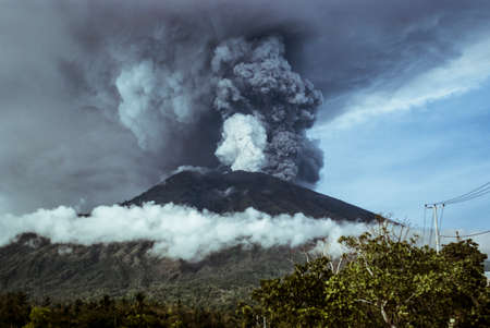 Agung volcano eruption in Bali, Indonesia Stock Photo