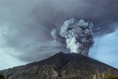 Agung volcano eruption in Bali, Indonesia 写真素材