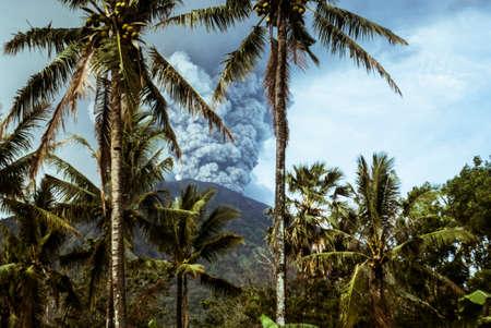 Agung volcano eruption in Bali, Indonesia Stock Photo