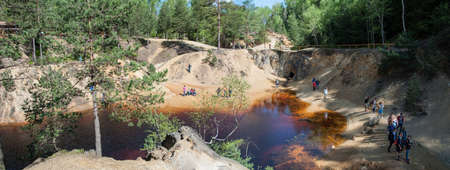 Colorful Lakes (Colorful Jeziorka) near Marcisz?w village Poland - Lower Silesia. Post-mining dumps flooded with water make it have different colors