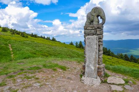 Stone Elephant is a symbol of the Snieznik Mountains near Stare Mesto pod Sneznik, Kr?lick? Sn??n Reklamní fotografie