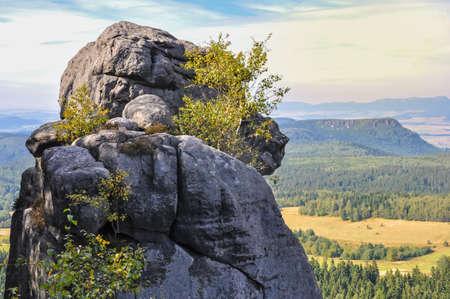 Tourists on the trail Stolowe Mountains National Park Szczeliniec Wielki, Lower Silesia, Poland Gory Stolowe