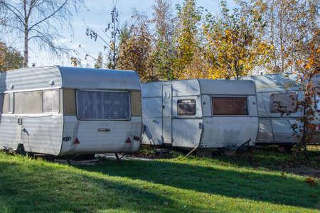Abandoned camping, autumn caravans - poland Baltic Sea