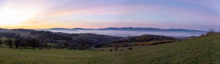 Sunrise over the Karkonosze Mountains - Kaczawskie Mountains, Poland