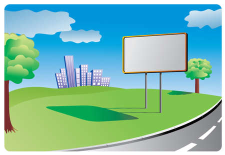 road surface: Clean billboard for filling informations or advertising standing for filling by the country road Illustration