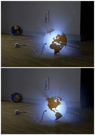 two globe powered electric grid photo