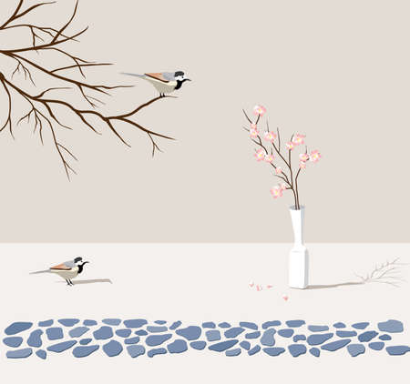 two birds look at flower 矢量图像