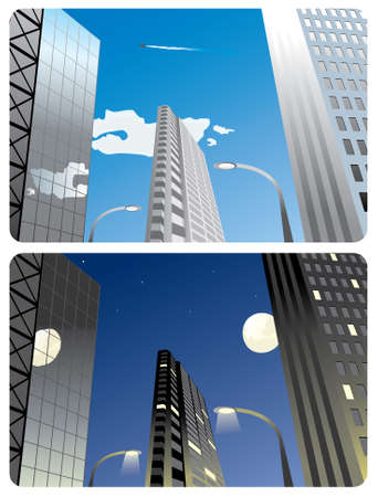 images of the business centre - in the daytime and at night.