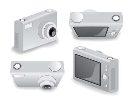 four different perspective on digital compact camera