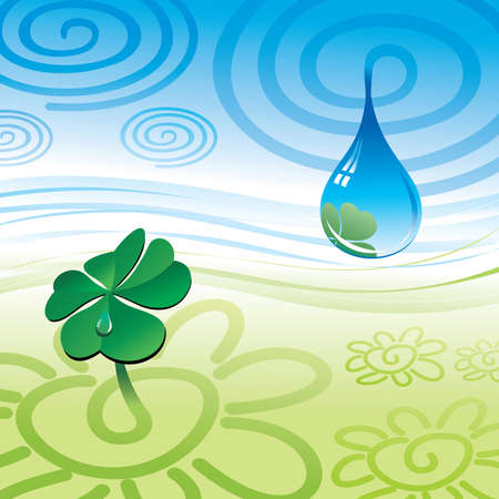 drop water: stylization symbol drop & clover